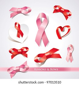 Set of ribbons and bows on a white background. Vector illustration.