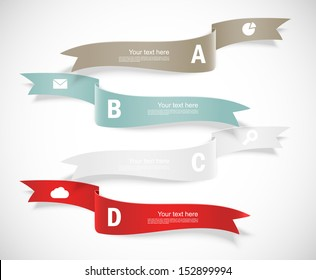 Set of ribbons. Infographic design. Numbered banners.