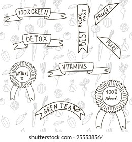 Set of ribbons and labels about healthy life-style on hand-drawn background with vegetables. Vector illustration