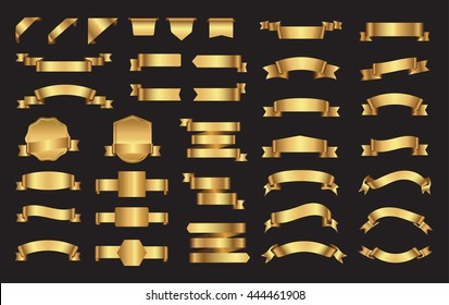 Set of ribbons and labels.Golden ribbon banners.Vector illustration.