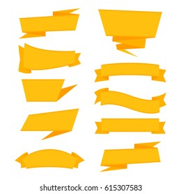 Set of ribbons on white background.   Yellow origami ribbon set. Flat stickers.Vector illustration. Ready for your design.