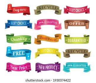 Set of ribbons. Ribbon elements. Banner isolated on white background. Colorful label decoration graphic.