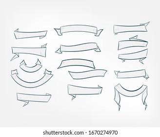 set ribbons vector design elements isolated decorative set