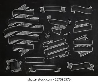Set ribbons in vintage style drawing with chalk