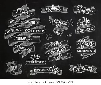 Set ribbons in vintage style lettering your future is created by what you do today not tomorrow stylized drawing with chalk