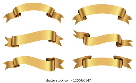 Set of ribbons.Golden ribbon banners.