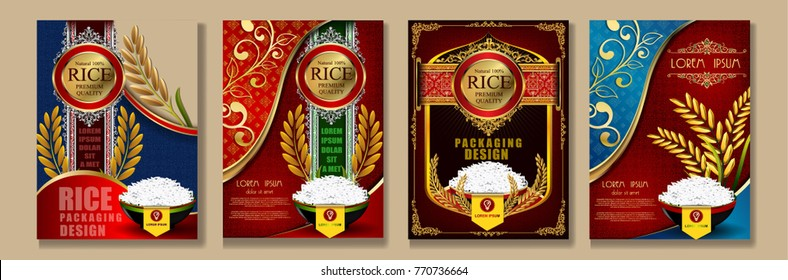 Set of  Rice Packaging, Thailand food Logo Products and Fabric Background Thai frame Arts, banner and poster template design rice food.Golden template and rice design