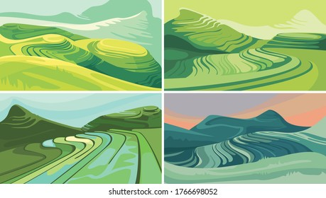 Set of rice terraces. Beautiful agricultural sceneries.