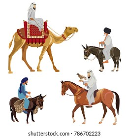 Set of riders on different animals - camel, horse and donkey. Vector illustration isolated on white background