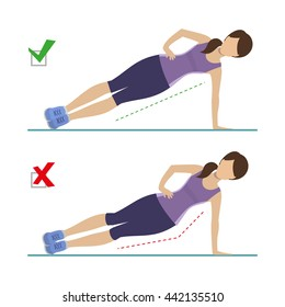 Set of right and wrong side plank position. Physical training for losing weight, reduction in fat mass. Vector.