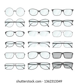 Set of rim glasses in different style isolated on white