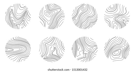 Set rings of topographic line map, circular geographic grid map. Abstract stock vector illustration