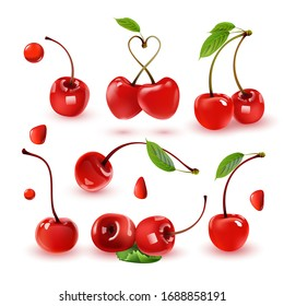 Set of ripe red cherries. Realistic 3d isolated vector illustration