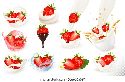 Set of ripe sweet strawberry with leaves and splash of milk and juce. Vector.