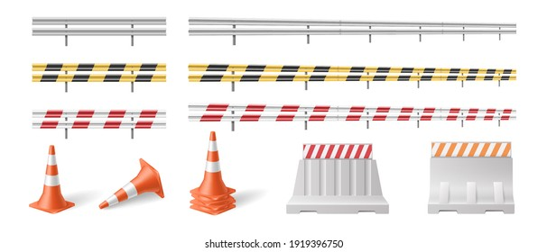 Set of road barriers and traffic blocks, protective fences for roadsigns and highways. Realistic street barricades and roadblocks isolated on white background. Vector illustration
