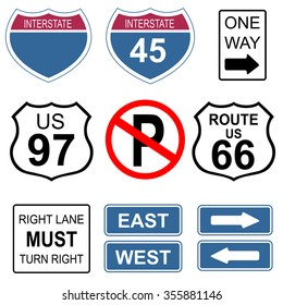 Set of road and highway signs.