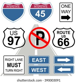 Set of road and highway signs. USA.