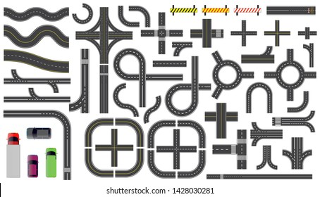 set of road parts with dashed line, roadside marking, intersections junction and crosswalk. easy to modify