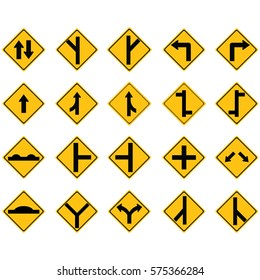 Set of road sign icons
