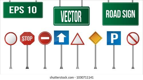 Set for road sign on a white background. Vector Illustration