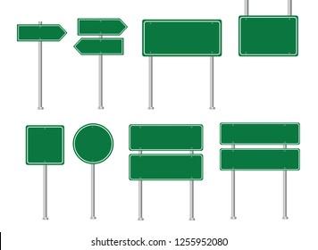 Set of road signs. Blank green road sign. Vector illustration.