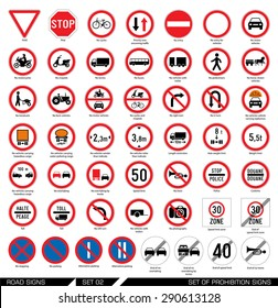 Set of road signs. Collection of mandatory and prohibition traffic signs. Vector illustration.