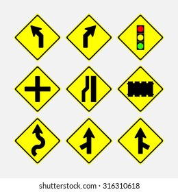 set of road signs, direction of movement, in a yellow diamond, fully editable vector image