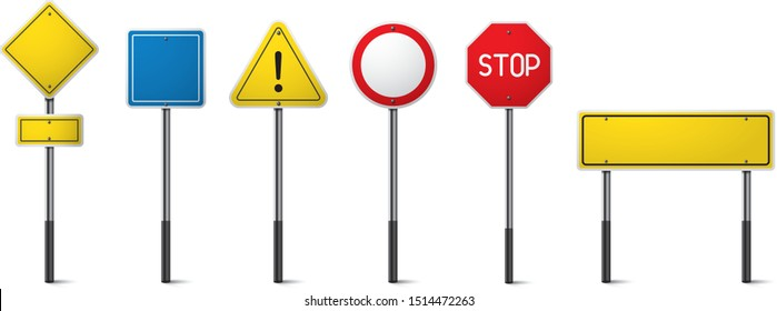 Set of road signs isolated. Direction traffic signs boards on metal stand, empty pointer post and directing signboard.