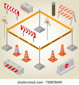 Set of road signs repairs isolated on white background. Design elements for reconstruction. Flat 3D isometric style, vector illustration.