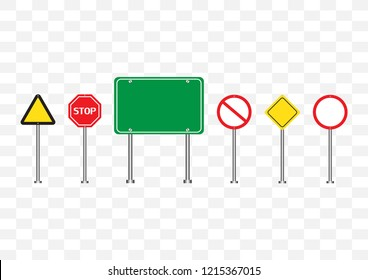 Set of road signs symbol vector illustration isolated on transparent background empty banners circle, triangle green,red,yellow road sign mock up for text.Concept for transportation.