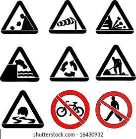 Set of Road Signs Triangle Vectors
