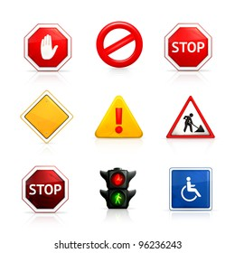 Set of road signs, vector