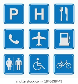 Set of road signs, vector illustration isolated on blue background. Traffic sign concept in different shapes and forms.