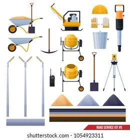 Set of road tools, wheelbarrow, concrete mixer, asphalt, workmanship, gloves, vector icons