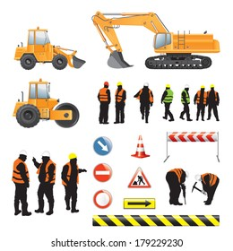 Set of road under construction. Machines, workers, signs and banners