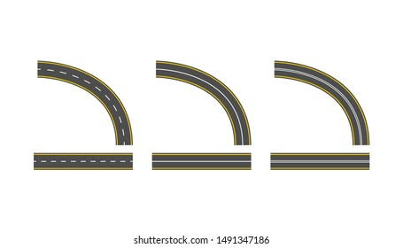 set road vector highway path long street asphalt isolated on white background.