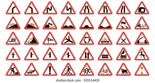 set road warning signs, road signs warn about the situation of traffic rules, vector red triangle