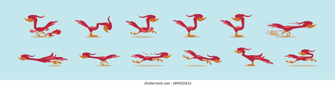 set of roadrunner cartoon icon design template with various models. modern vector illustration isolated on blue background
