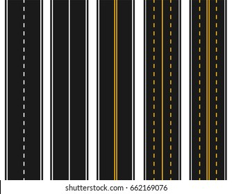 Set of roads with various white and yellow markings on a white background. Abstract. Vector illustration