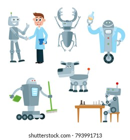 Set of robot assistants, friends - cleaner, chess player, lab worker, dog and beetle, cartoon vector illustration isolated on white background. Set of various carton robots - androids