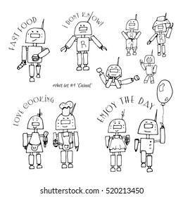 Set of robot characters, casual motif.
