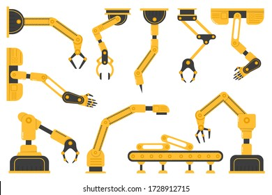 Set of robotic hand tools or industrial welding robots in a factory of a production line manufacturer. Manufacturing industry mechanical robot arm, machinery technology, factory machine hands. Vector.