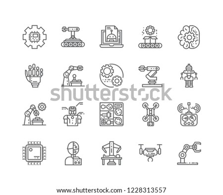 Set Robotics Engineering Outline Icons Isolated Stock Vector