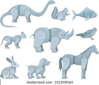 Set of robots in the form of animals. Vector illustration.