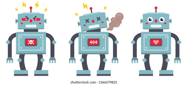 set of robots on a white background. evil, broken and kind iron cyborg. Vector flat character illustration. children's toy