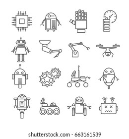 Set of robots Related Vector Line Icons. Includes such Icons as robotics, machines, equipment, engineering, automated machinery, gears, chip