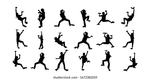 Set of rock climber's silhouettes.