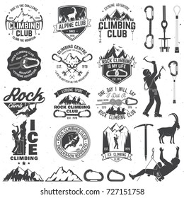 Set of Rock Climbing club badges with design elements. Vector illustration. Concept for shirt or print, stamp or tee. Vintage typography design with climber, carabiner and mountains. Mountain climbing