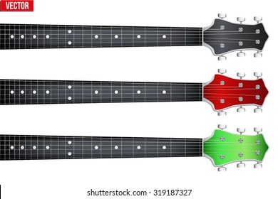 Set of Rock Guitars neck fretboard and headstock. Vector Illustration isolated on white background.