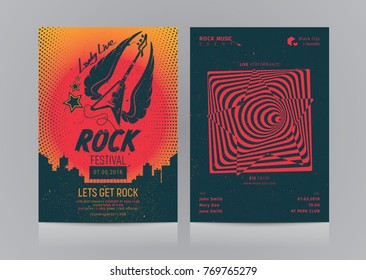 Set of Rock Music Flyer Layout. Mockup Vector illustration.
